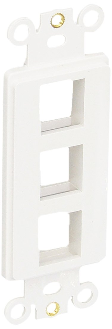 Morris 88116 Decorative DataComm Frame for Keystone Jack and Modular Inserts, 3 Ports, White