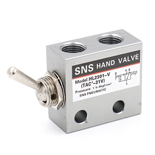 Baomain Pneumatic Knob Switch Valve HL-2301-V 2 Port 3 Position PT1/8 Normally Closed ()