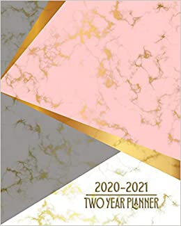 2020 - 2021 Two Year Daily Planner: Elegant Pink White ...