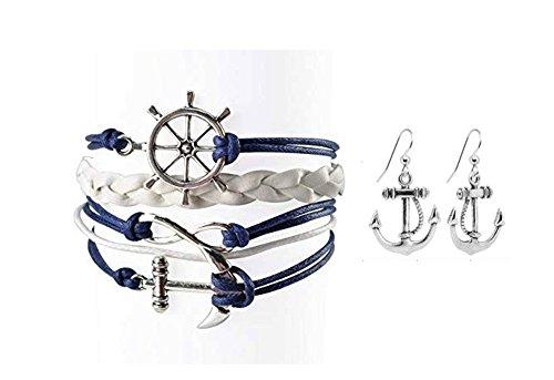 (Nautical Anchor Charm Earrings & Bracelet for Women, Navy Rudder Anchor Braided Weave Leather Rope Infinity Love Bracelet)