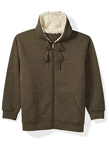 Essentials Mens Sherpa Lined Full-Zip Hooded Fleece Sweatshirt