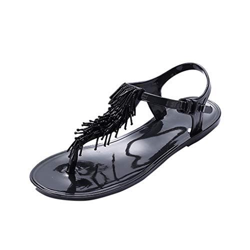 Open Toe pin Flat Sandals Summer Beaded Buckle Tassel Shoes Roman Beach Sandals and Slippers MEEYA - Hearthside Womens Slippers