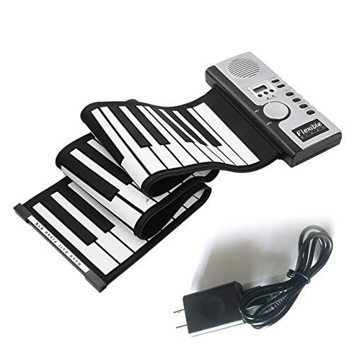 OKAYOU 61キー電子ピアノキーボードシリコンフレキシブルロールアップデジタルピアノ128トーン子供のためのおもちゃ学習初心者教育玩具