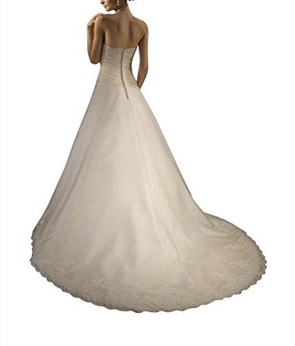 Elfenbein Satin Organza ueber Satin Traegerlose Kapelle Hochzeitskleider Spitze Mieder Zug GEORGE BRIDE Brautkleider R7fqUU