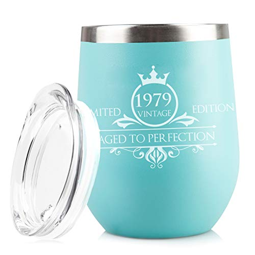 1979 40th Birthday Gifts for Women and Men - Funny Vintage Anniversary Gift Ideas for Mom, Dad, Husband or Wife - Party Decorations for Him or Her - 12 oz Stainless Steel Wine Glass Tumbler with Lid ()