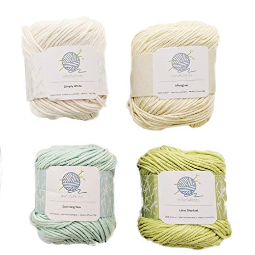 Knitting Yarn, Crochet Yarn, Mindfulness and Relaxation 100 Percent Cotton Yarn, Multicolor 4-Pack Medium Number 4 Worsted Bundle, Soft & Gentle for Baby Items - by mindfulknits ()