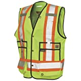 Work King Men's Hi-Vis Safety Surveyor Vest, Fluorescent Yellow,3XL