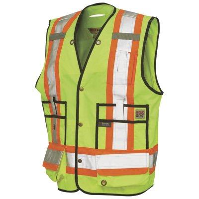 Work King Men's Hi-Vis Safety Surveyor Vest, Fluorescent Yellow,3XL