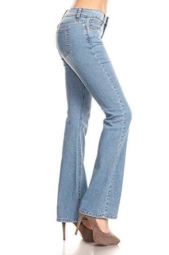 WAX/Jack David Jeans Womens Juniors 70s Trendy Slim Fit Flared Bell Bottom Denim Jean Pants (Wax Jeans 91000 Light Blue-, 11)