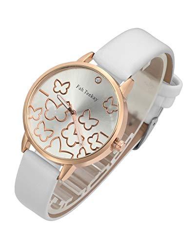 Top Plaza Womens Girls Fashion Leather Wrist Watch Elegant Simple Butterfly Analog Quartz Dress Watch