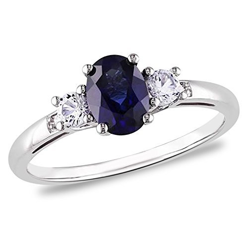 1.25CTW Genuine Sapphire and Diamond 3 Stone Ring in Sterling Silver