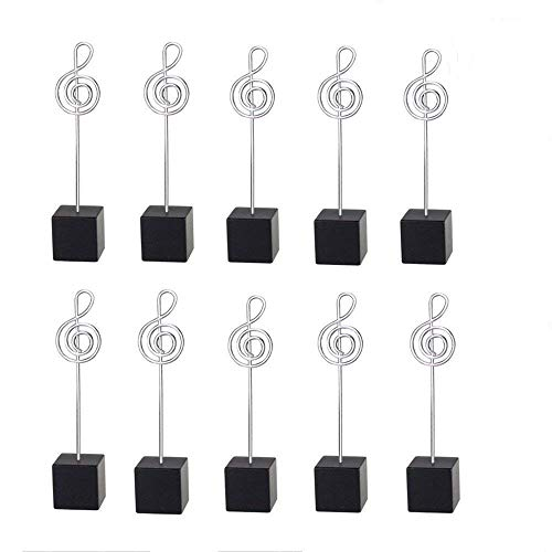 10pcs Music Shape Table Number Holder Name Place Card Holder Memo Clip Holder Standr Pictures Card Paper Menu Clip (Balck) -