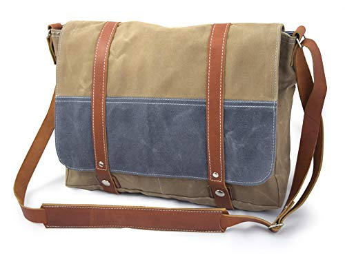 American Made Durable Waxed Canvas Messenger Bag with Adjustable Leather Strap, 16