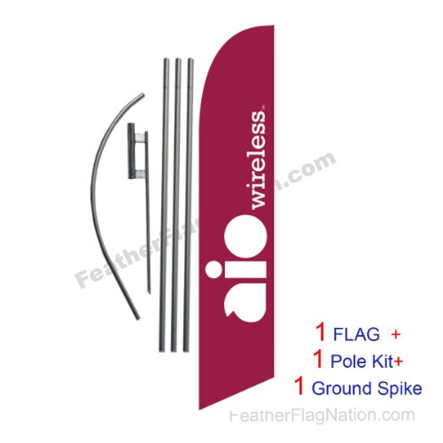 15ft AIO Wireless Feather Flag Swooper Flag Set - INCLUDE...