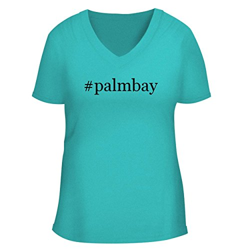 BH Cool Designs #palmbay - Cute Women's V Neck Graphic Tee, Aqua, XX-Large ()