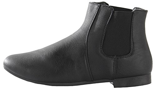 WOMENS LADIES FLAT LOW HEEL LACE UP CHELSEA STYLE PIXIE ANKLE BOOTS SHOES SIZE Style N - Black M0F8R9c