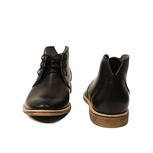PeppeShoes Modello Damaso - Handgemachtes Italienisch Leder Herren Schwarz Stiefeletten Chukka Stiefel - Rindsleder Weiches Leder - Schnüren
