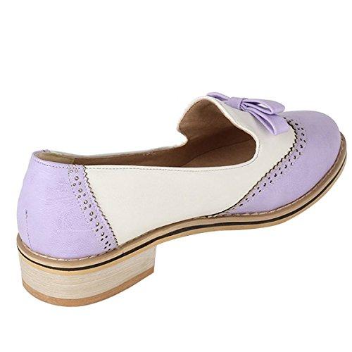 Leanna Frühling Sommer Mode Vintage Brogue Frauen Niedrigen Ferse Süße Bowknot Oxfords Schuhe Candy Farbe Lila