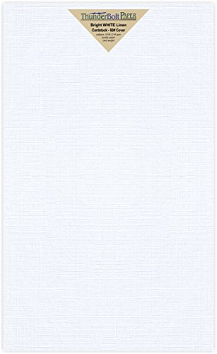 Fine Linen Cover Paper (50 Sheets Bright White Fine Linen 80lb Cover Stock Paper 8.5 X 14 Inches Legal Size 80# Cardstock by ThunderBolt Paper)