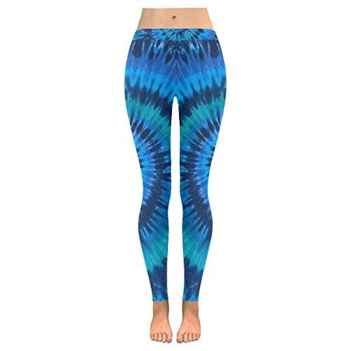 INTERESTPRINT Tribal Tie Dye Mandala Blue Custom Stretchy Capri Leggings Skinny Pants for Yoga Running Pilates Gym L