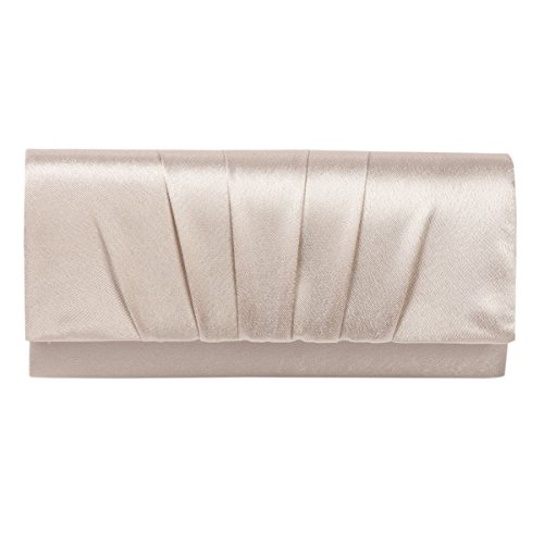 Damara Womens Satin Pleated Clutch Bag Wedding Bridal Prom Evening Handbag,Champagne