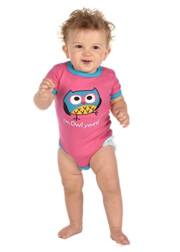 Infant Creeper Onesie by LazyOne | Baby One Piece 6, 12, and 18 Month Sizes (18 Month, Owl Yours Pink) (Owl Yours Pajamas)