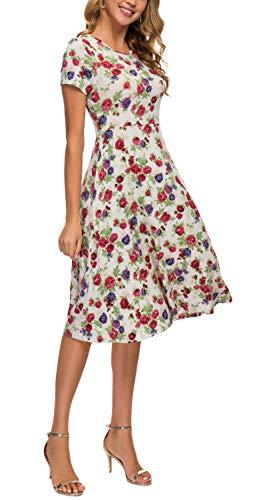 Women's Summer Casual T Shirt Dresses Floral Short Sleeve Flared Midi Dress