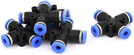 uxcell 空気圧チューブコネクタ 十字型 プラスチック 4mm to 4mm ブラック、ブルー 3.8x3.8x1.1cm