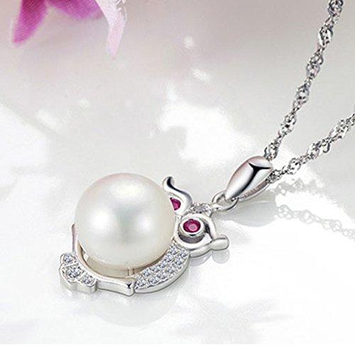 Chaomingzhen Argent sterling imitation perle Hibou Pendentifs Colliers Femmes Chaîne de 45cm