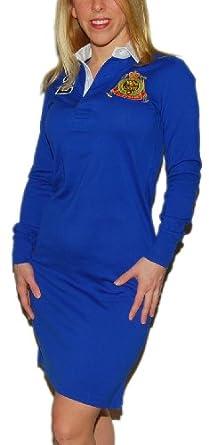 Polo Ralph Lauren Sport Womens Big Pony Match Tennis Dress Shirt Blue