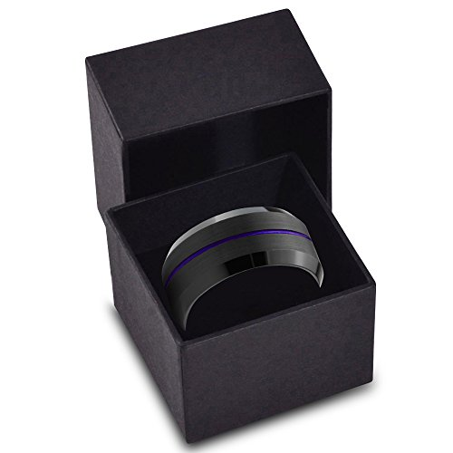Tungsten Wedding Band Ring 10mm for Men Women Purple Black Beveled Edge Brushed Polished Center Line Lifetime Guarantee