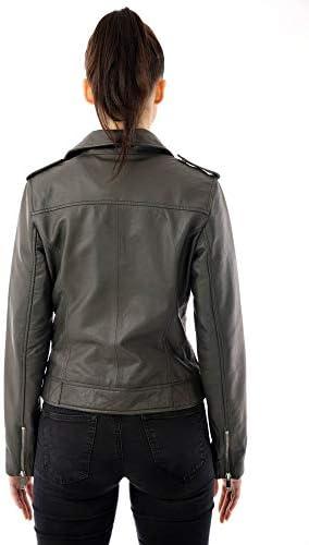Barneys Originals Women's Grey Real Leather Biker Jacket