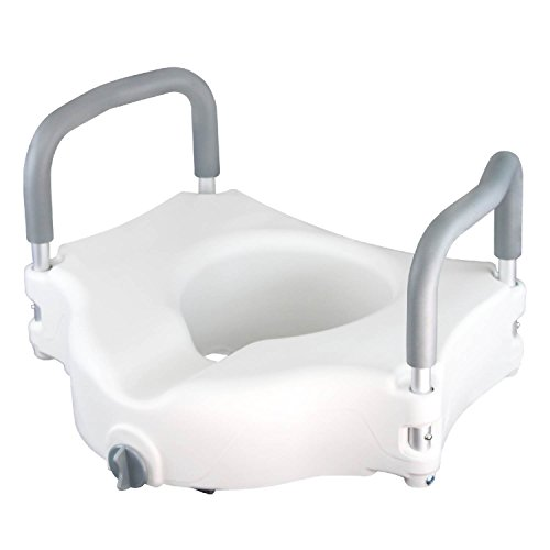 Raised Toilet Seat by Vive - Portable Elevated Riser with Padded Handles - Toilet Seat Lifter for Bathroom Safety - Assists Disabled, Elderly or (Raised Toilet Seat Handles)
