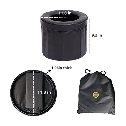 ShineLife Portable Car Commode Folding Toilet Seat - Perfect for Camping, Hiking, Trips, Traffic jam, Also canbe Used as a Stool (Black) by ShineLife (Image #3)
