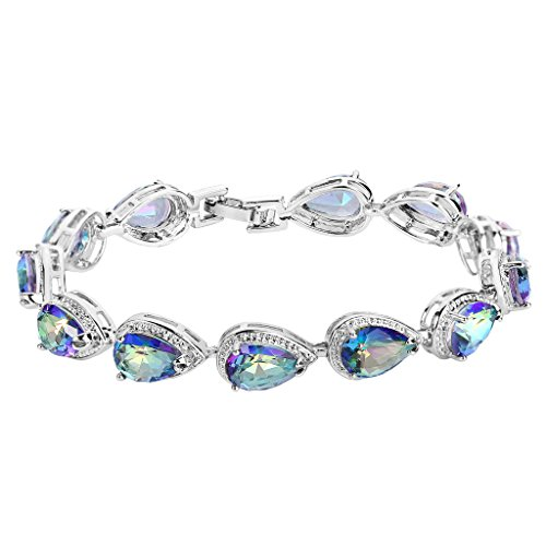 EVER FAITH Women's Prong CZ December Birthstone Teardrop Tennis Bracelet Vitrail-Medi-Color - Crystal Bracelet Austrian Cuff