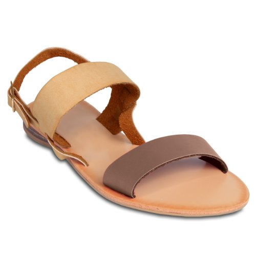 CASPAR Womens Sandals with Leather Straps and Various Colour Elements - many colours - SSA011 Brown lnAYLwjmAk