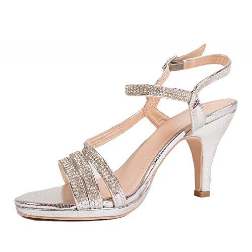 Chaussures Mariage Fines amp; Petit Argent croisées Femme Talon lanières Strass q1pS6Tywq