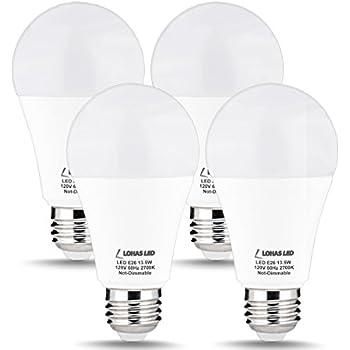 LOHAS A19 LED Bulb 100W Equivalent, LED Light Bulbs 13.5W, Warm White 2700K, E26 Medium Base Bulbs, 240 Degree Beam Angle LED Lights, LED Lamp, Non-Dimmable ...