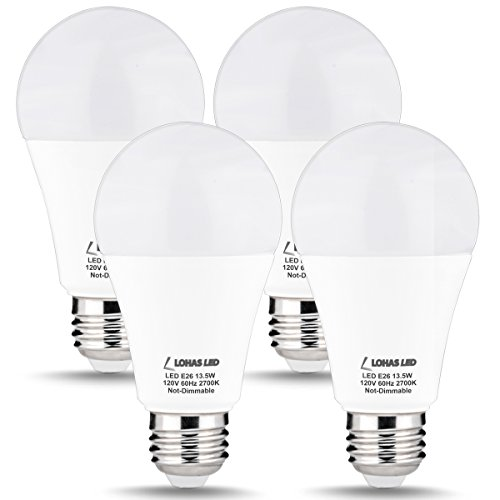 LOHAS A19 LED Bulb 100W Equivalent, LED Light Bulbs 13.5W, Warm White 2700K, E26 Medium Base Bulbs, 240 Degree Beam Angle LED Lights, LED Lamp, Non-Dimmable for Home Lighting(4 Pack)