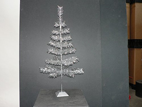 24'' Silver Christmas Tinsel Tree Retro Style Silver Feather Tinsel Tree by Lee Display (Image #6)