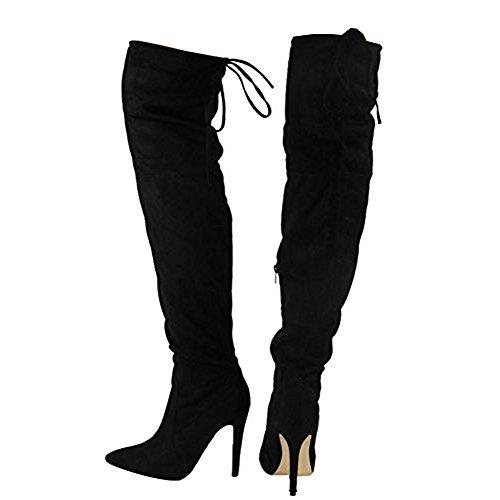 tobillo negra de rodilla el con mujer la tacón elásticas hasta alto 3 hasta 8 cordones gamuza Damas para de Tamaño Botas RXvqdR