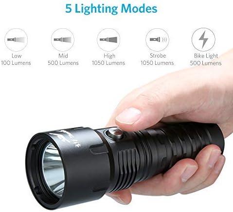 ThorFire TD26 Unterwasser 100m Wasserdicht Tauchen Taschenlampe IPX8 LED 5 Modi Mit 18650 Akku + USB Ladekabel+ Ladeger/ät 1000LM Unterwasser Taschenlampe