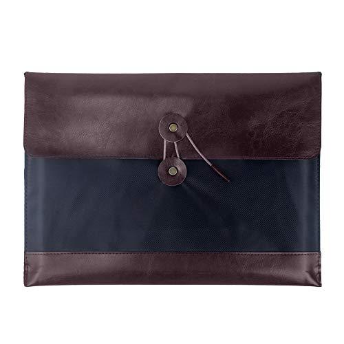 Oak-Pine Vintage Portable PU Leather A4 File Folder Pocket Document Wallet Paper Files Record Bag Business Handbag Storage Organizer Briefcase