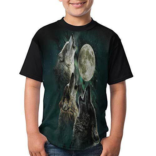3D 3 Wolf Moon Round Neck T-Shirt for Parents and Children Black M ()