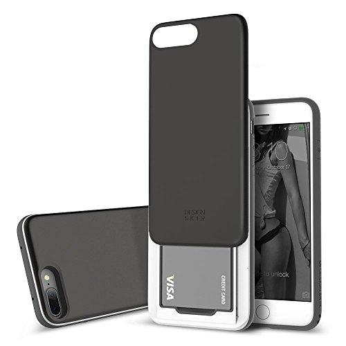iPhone 8 Plus/iPhone 7 Plus Case DesignSkin [Slider] Upgraded Card Slot Shock Absorption Shockproof 3-Layer Protective Cover Holder Wallet Case Heavy Duty Bumper (Titanium Black)