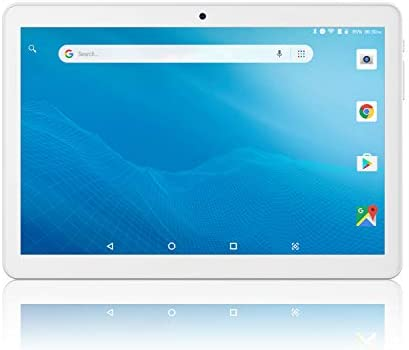 Tablet 10 inch Android Go 8.1, Quad Core, Google Certified, Tablet PC with SD Card Slot and Dual Camera,16GB Storage, Dual Band 5GHz/2.4GHz WiFi, 6000mAh, HD Full Touchscreen, Bluetooth, GPS - Silver