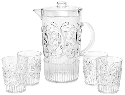 "Break Resistant""Fresh Splash"" Clear Plastic Pitcher with Lid and 4 Tumbler Glasses Drinkware Set - Perfect for Iced Tea, Sangria, Lemonade (84 fl oz. pitcher - 12 fl oz. glasses)"