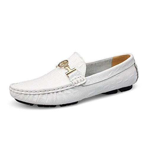 Zapatos Zapatos Cuero Barcos Mocasines Pisos Transpirable Slip Hombres Casual Blanco ConduccióN Moda Hombres aq5UwPP1
