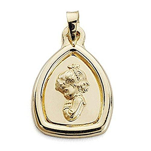 18k médaille d'or Virgin Nina 24mm. bord lisse [7104]