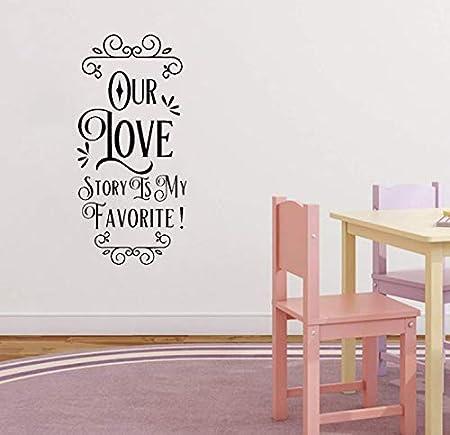 Notre Histoire D Amour Est Mon Prefere Valentines Stickers Amovibles Proverbes Anglais Wall Sticker Home Decor Pvc Decal 38 1cm 80 2cm Amazon Fr Bricolage